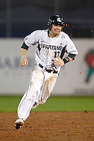 Michigan State Spartans shortstop Justin Scanlon #13 running the bases during a game against the St. John's Red Storm at the Big Ten/Big East Challenge at Florida Auto Exchange Stadium on February 17, 2012 in Dunedin, Florida.  (Mike Janes/Four Seam Images)