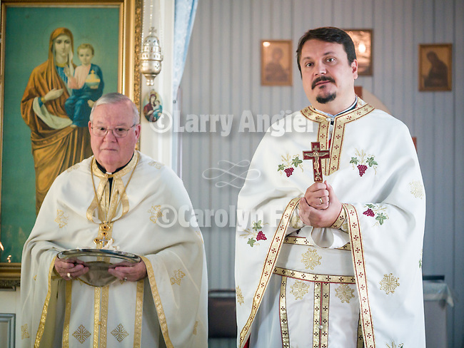 Divine Liturgy on the 13th Saturday after Pentecost remembering Hieromartyr Babylas and the formation of the first Serbian Benevolent Association at St. Basil of Ostrog Serbian Orthodox Church, founded 1910 and opened for two-three liturgies each year. Fr. Joseph from San Gabriel, Fr. Gordic with Deacon Dragon Stojanovich, September 24, 2016, Angels Camp, Calif.