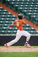 Victor Gonzalez (6) follows through on a swing during the Dominican Prospect League Elite Underclass International Series, powered by Baseball Factory, on July 21, 2018 at Schaumburg Boomers Stadium in Schaumburg, Illinois.  (Mike Janes/Four Seam Images)