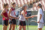 Los Angeles, CA 04/22/16 - Meg Lentz (Stanford #6), Alex Poplawski (Stanford #28), Kelsey Murray (Stanford #21), Amanda Johansen (USC #7) in action during the NCAA Stanford-USC Division 1 women lacrosse game at the Los Angeles Memorial Coliseum.  USC defeated Stanford 10-9/