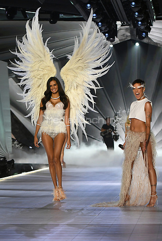 NEW YORK, NY - NOVEMBER 08: Gizele Oliveira and Halsey at the 2018 Victoria's Secret Fashion Show at Pier 94 on November 8, 2018 in New York City. Credit: John Palmer/MediaPunch