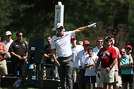 Bethesda, MD - June 29, 2014:  Justin Rose tries to direct his tee shot on hole 8  during Final round of the Quicken Loans National at the Congressional Country Club in Bethesda, MD. (Photo by Elliott Brown/Media Images International)