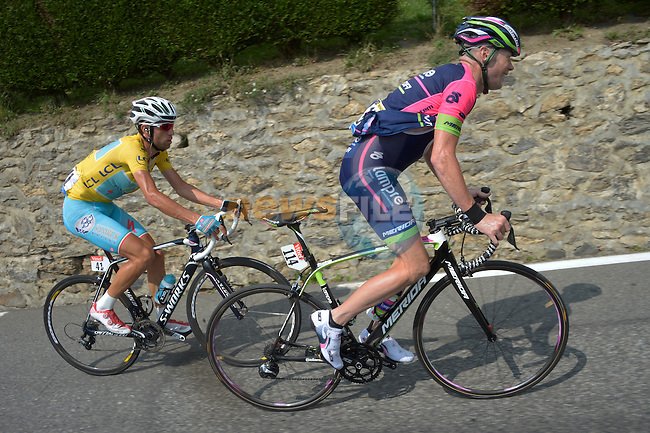 Christopher Horner (USA) Lampre-Merida attacks Vincenzo Nibali (ITA) Astana on the slopes of Hautacam during Stage 18 of the 2014 Tour de France running 145.5km from Pau to Hautacam. 24th July 2014.<br /> Photo ASO/B.Bade/www.newsfile.ie
