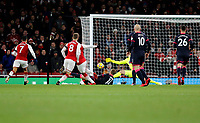 GOAL - Alexandre Lacazette of Arsenal scores to make it 1-0 during the Premier League match between Arsenal and Huddersfield Town at the Emirates Stadium, London, England on 29 November 2017. Photo by Carlton Myrie / PRiME Media Images.