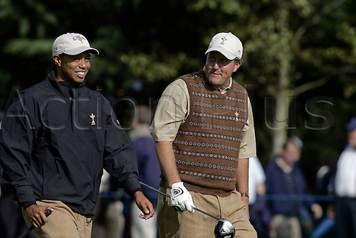 21 September 2006: American players Tiger Woods and Phil Mickelson on the 10th during practice for The 2006 Ryder Cup played at The K Club, Straffan, County Kildare, Ireland. Photo: Glyn Kirk/Actionplus....060921 golf golfer teamwork laughter laugh.