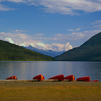 Red Canoes for Rent at Bowron Lake, Bowron Lake Provincial Park, BC, Cariboo Region of British Columbia, Canada