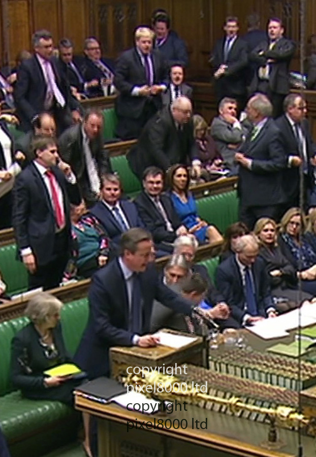 Pic shows: House of Commons 22.2.16<br /> David Cameron makes his statement on Brexit.<br /> <br /> Boris Johnson in the background<br /> <br /> <br /> <br /> Picture by Pixel8000 07917221968