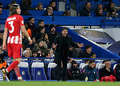 5th December 2017, Stamford Bridge, London, England; UEFA Champions League football, Chelsea versus Atletico Madrid; Atletico Madrid Manager Diego Simeone attempting to calm his players down after Savic turned in an own goal from Eden Hazard of Chelsea shot in the 72nd minute to make it 1-1