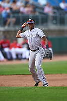 Grand Junction Rockies third baseman Julio Carreras (2) throws to first base during a Pioneer League game against the Billings Mustangs at Dehler Park on August 14, 2019 in Billings, Montana. Grand Junction defeated Billings 8-5. (Zachary Lucy/Four Seam Images)