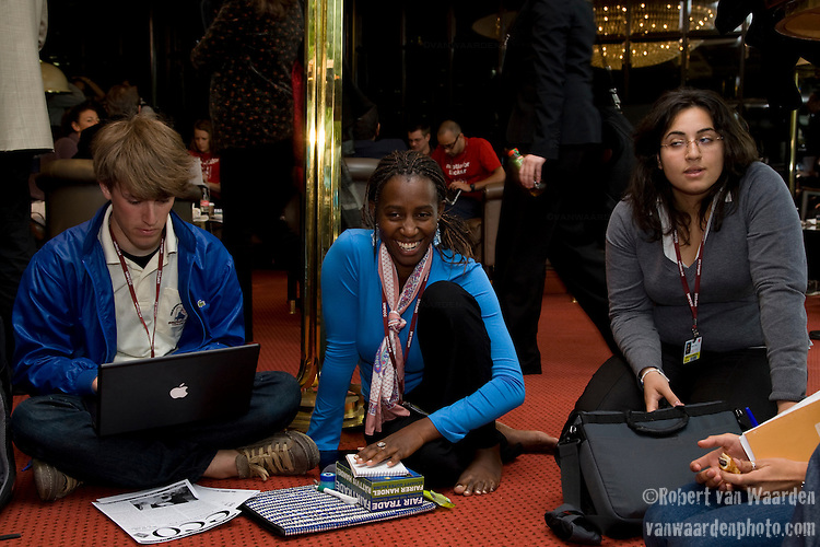 Equity Affinity group at the United Nations Climate Talks in Bonn Germany, (l-r) Blaine O'Neill, Grace Mwaura, Sara (©Robert vanWaarden)