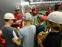 NWA Democrat-Gazette/ANDY SHUPE<br /> Arkansas center fielder Dominic Fletcher signs autographs Friday, June 7, 2019, during practice in The Fowler Family Baseball and Track Training Center ahead of today's NCAA Super Regional game at Baum-Walker Stadium in Fayetteville. Visit nwadg.com/photos to see more photographs from the practices.
