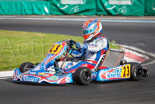 30.08.2013. PFi Circuit near Grantham Lincolnshire England. Round 1 of the CIK-FIA World KF Championships. Friday Free Practice. #23 Moritz Horn (DEU) Energy Corse