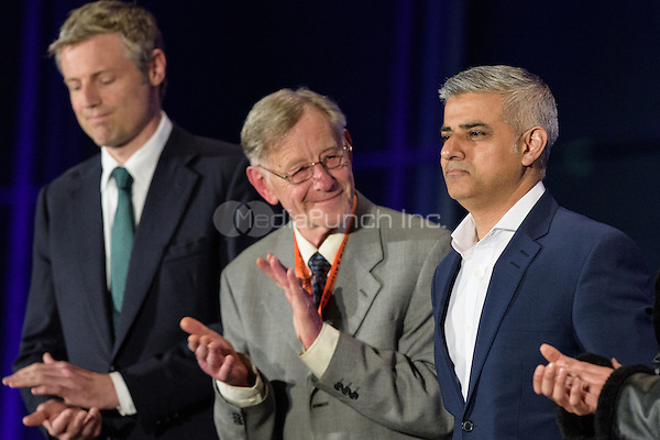 Sadiq Khan, the new London Mayor, reacts at the results announcement in London's City Hall, May 06, 2016. L-R Zac Goldsmith Conservative, Lee Harris Canabis is Safer Than Alcohol and new mayor Sadiq Khan.<br /> CAP/CAM<br /> &copy;CAM/Capital Pictures /MediaPunch ***NORTH AMERICAN AND SOUTH AMERICAN SALES ONLY***
