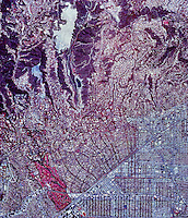 historical infrared aerial photograph of Beverly Hills, California, 1989