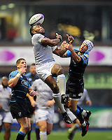 Semesa Rokoduguni of Bath Rugby looks to claim the ball in the air. European Rugby Challenge Cup match, between Cardiff Blues and Bath Rugby on December 10, 2016 at the Cardiff Arms Park in Cardiff, Wales. Photo by: Patrick Khachfe / Onside Images