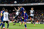 Gerard Pique Bernabeu of FC Barcelona (R) fights for the ball with Santiago Mina Lorenzo of Valencia CF (L) during the Copa Del Rey 2017-18 match between FC Barcelona and Valencia CF at Camp Nou Stadium on 01 February 2018 in Barcelona, Spain. Photo by Vicens Gimenez / Power Sport Images