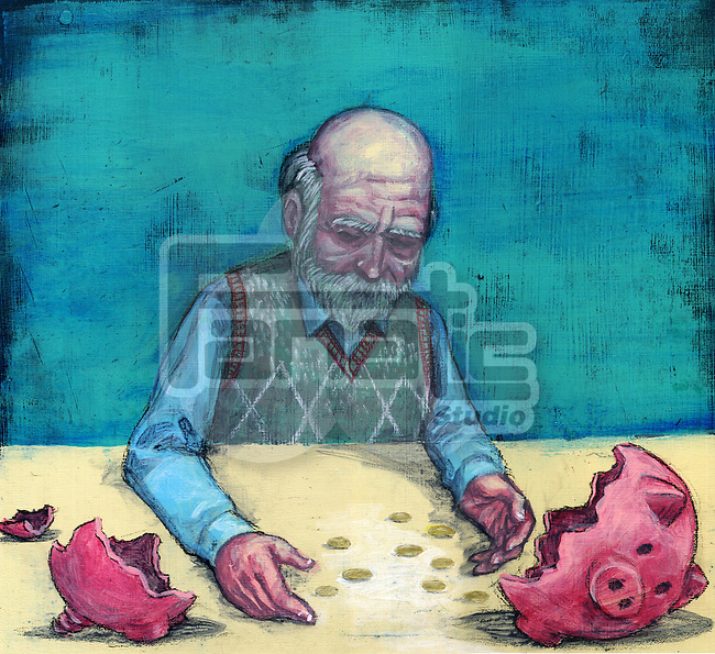 Conceptual illustration of elderly man with broken piggy bank