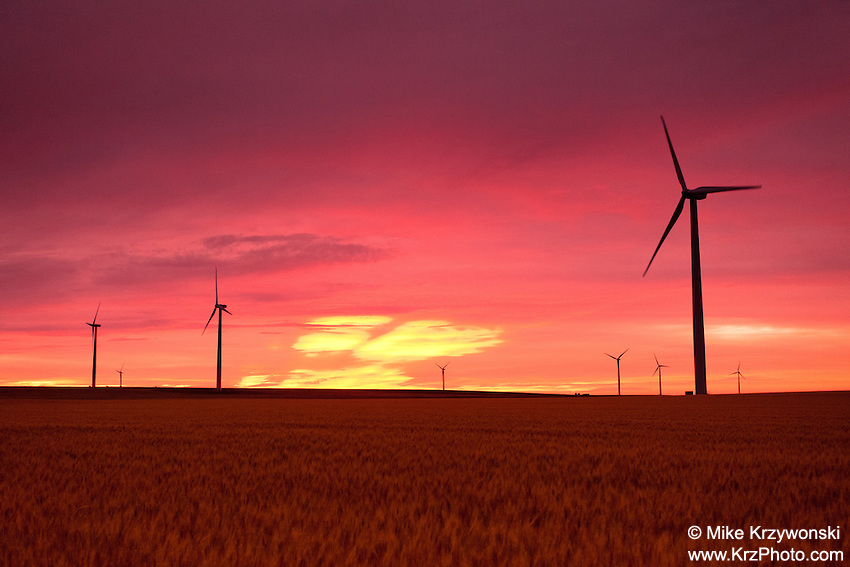 Wind turbines against a red sunset in Burlington, CO