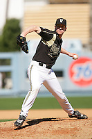 February 28 2010: Richie Goodenow of Vanderbilt  during game against Oklahoma State at Dodger Stadium in Los Angeles,CA.  Photo by Larry Goren/Four Seam Images