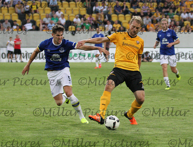 Tim Väyrynen controlling the ball under pressure from John Stones in the Dynamo Dresden v Everton match in the Bundeswehr Karriere Cup Dresden 2016 played at the DDV Stadion, Dresden on 29.7.16.