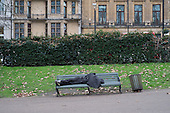Rough sleeper, Green Park, London.