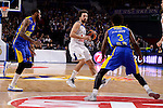 Real Madrid's Sergio Llull and Maccabi Fox's Sonny Weens and Victor Rudd during Turkish Airlines Euroleague match between Real Madrid and Maccabi at Wizink Center in Madrid, Spain. January 13, 2017. (ALTERPHOTOS/BorjaB.Hojas)
