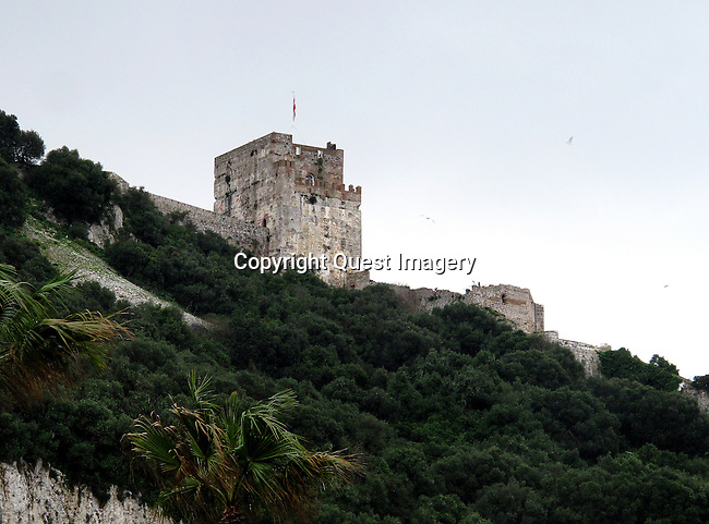 A Moorish castle on the Rock of Gibraltar, a Medieval Fortification in Gibraltar which is made up of a number of buildings, the Moorish Castle stands proudly on the Eastern elevation of the Rock, a proud symbol of the long and colourful history of the Rock of Gibraltar. Moors the longest in its history. <br />