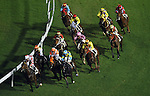 HONG KONG, CHINA - SEPTEMBER 16:  Runners come round the final bend in the Race 5 during the first night of horses races of the 2009/10 seasson at the Happy Valley racecourse in Hong Kong. The coming 2009/10 racing season marks the 125th Anniversary of The Hong Kong Jockey Club, which since its establishment in 1884. Photo by Victor Fraile / The Power of Sport Images