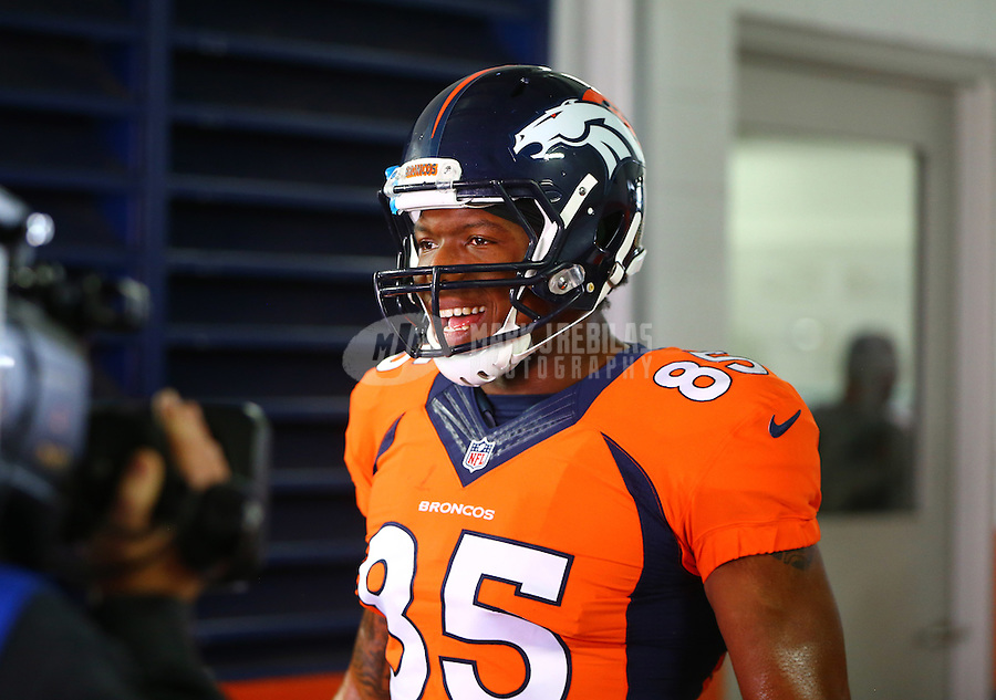 Jan 17, 2016; Denver, CO, USA; Denver Broncos tight end Virgil Green (85) against the Pittsburgh Steelers during the AFC Divisional round playoff game at Sports Authority Field at Mile High. Mandatory Credit: Mark J. Rebilas-USA TODAY Sports
