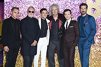 "Ben Hardy, Roger Taylor, Rami Malek, Brian May, Joe Mazzello and Gwilyn Lee<br /> arriving for the ""Bohemian Rhapsody"" World premiere at Wembley Arena, London<br /> <br /> ©Ash Knotek  D3455  23/10/2018"