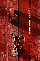 Red door with lock and chain, Kentucky Horse Park, Lexington, Kentucky