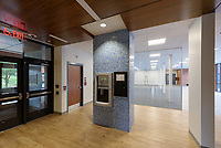 Major Renovation Litchfield Hall WCSU Danbury CT<br /> Connecticut State Project No: CF-RD-275<br /> Architect: OakPark Architects LLC  Contractor: Nosal Builders<br /> James R Anderson Photography New Haven CT photog.com<br /> Date of Photograph: 08 August 2017<br /> Camera View: 31 -  Hall 100.1 &amp; Fire Alarm Panel