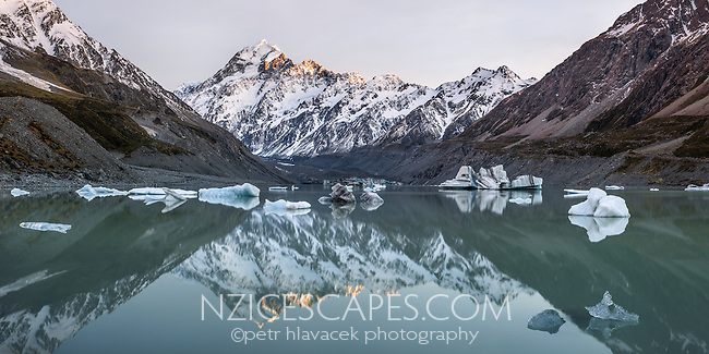 Dawn at Hooker Lake with icebergs and Aoraki,Mount Cook in background, Aoraki, Mt. Cook National Park, Mackenzie Country, UNESCO World Heritage Area, South Island, New Zealand, NZ