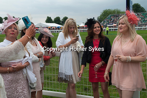 Royal Ascot horse racing Berkshire. 2016. Group of women work in the hospital in kettering Northampton a day out off work.