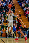 16 December 2018: University of Vermont Catamount Guard Ernie Duncan, a Redshirt Senior from Evansville, IN, in first half action against the Northeastern University Huskies at Patrick Gymnasium in Burlington, Vermont. The Catamounts defeated the Huskies 75-70 in NCAA Division I America East play. Mandatory Credit: Ed Wolfstein Photo *** RAW (NEF) Image File Available ***