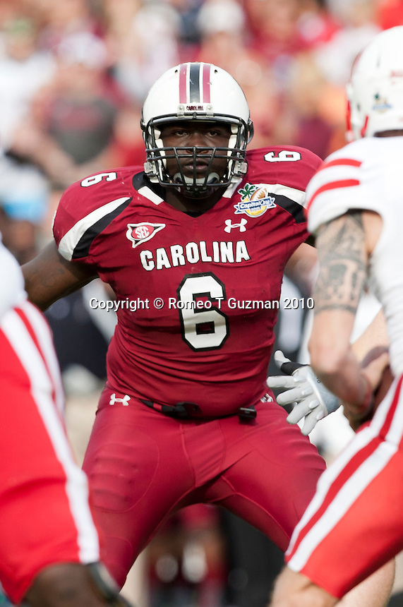 January 2, 2012: South Carolina Gamecocks defensive end Melvin Ingram (6) during second half game action in the Capital One Bowl between the Nebraska Cornhuskers and the South Carolina Gamecocks. South Carolina defeated Nebraska 30-13 at the Citrus Bowl in Orlando, Fl.