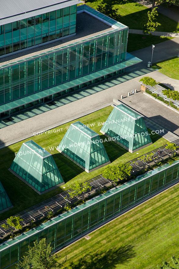aerial photo detail of University of Washington's Law School Building, William H. Gates Hall; Seattle, WA