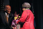 Harry Belafonte congradulates Marian Wright Edelman for her Justice Award, at the John Jay Justice Award ceremony, April 5 2011.
