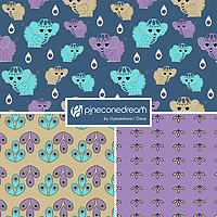 """Sweet Elephants"" is a hand illustrated scalable vector surface pattern collection -  inspired by the innocence of baby elephants and Indian ethnic decorative motifs!<br />