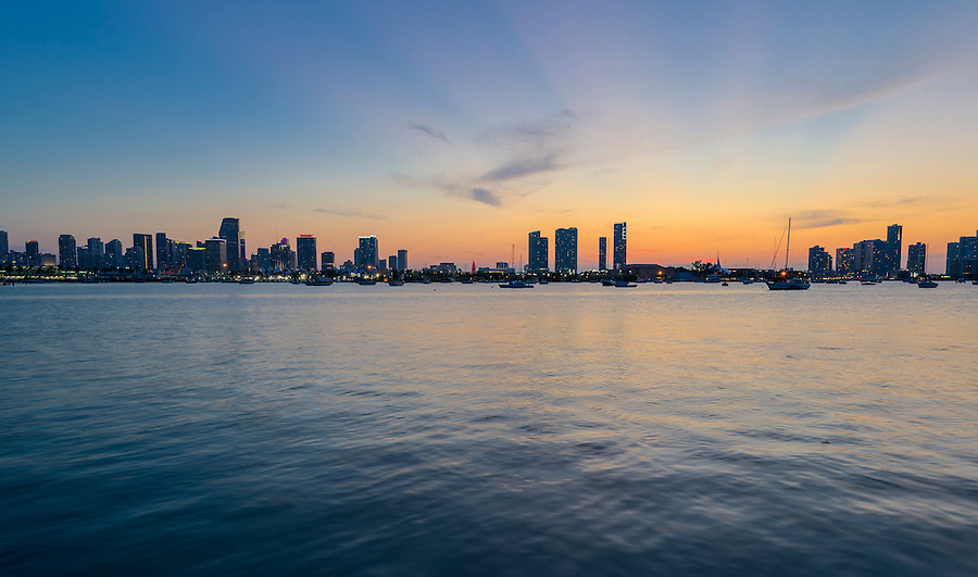 View of downton Miami from the water at sunset