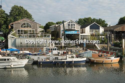 Eel Pie island boat yard. River Thames at Twickenham Middlesex.