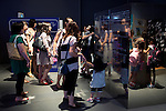 """Visitors at the """"Toilet!? Human Waste & Earth's Future"""" exposition on August 1, 2014 in Tokyo, Japan. The Toilet!? Human Waste & Earth's Future is an exposition to listen the toilet's voice and explore what is the """"happy toilet"""" for each human being on the earth at National Museum of Emerging Science and Innovation in Tokyo from July 2 to October 5. The toilet is related not only to our daily life but also to the global environment. The exposition consist of eight areas where you can learn toilet problems for each generation and in the world. (Photo by Rodrigo Reyes Marin/AFLO)"""