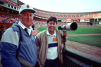 SAN FRANCISCO, CA - Al Mangin poses with his son, photographer Brad Mangin before a game between the Houston Astros and San Francisco Giants in 1989 at Candlestick Park in San Francisco, California. (Photo by Joe Gosen)