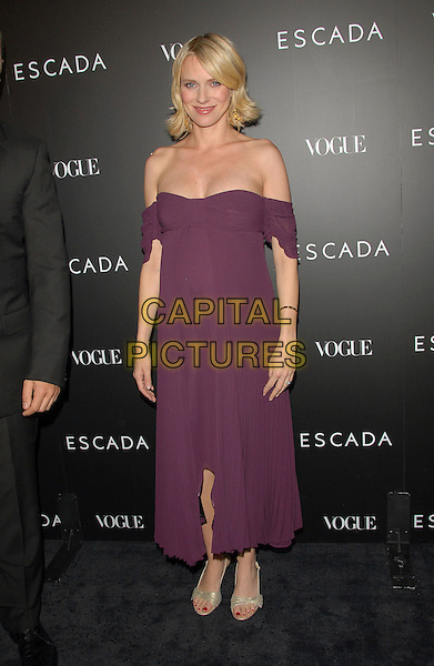 NAOMI WATTS.The Grand Opening of The Escada Beverly Hills Flagship Boutique at The Beverly Wilshire Hotel in Beverly Hills, California, USA..May 3rd, 2007.full length purple off the shoulder dress pregnant.CAP/DVS.©Debbie VanStory/Capital Pictures