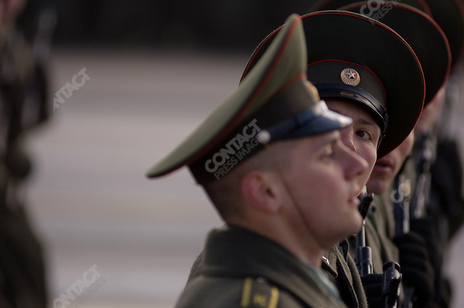 At a military base outside Moscow soldiers, sailors and airforce men rehearsed the parade to be performed on Red Square in Moscow on 9 May to mark Victory Day in Russia - this years parade, harking back to Soviet times will use over 8,000 troops, 110 military vehicles and 30 planes in a show of military might. April 22, 2008