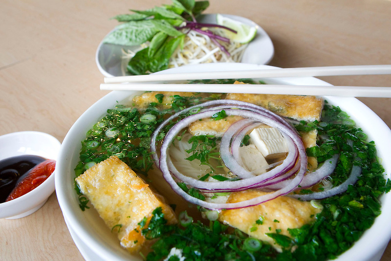 Vegan Pho is served at the Bamboo Hut  in Vancouver, Friday January 31, 2014. (Natalie Behring/for the Columbian)