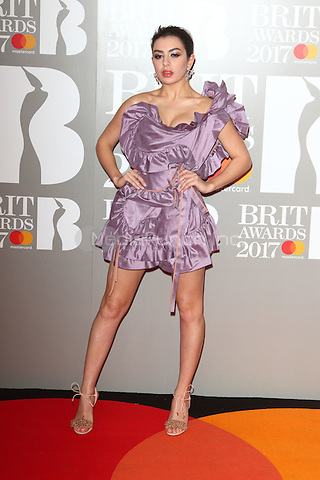 Charli XCX at The BRIT Awards 2017 at The O2, Peninsula Square, London on February 22nd 2017<br /> CAP/ROS<br /> &copy; Steve Ross/Capital Pictures /MediaPunch ***NORTH AND SOUTH AMERICAS ONLY***