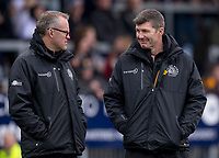 Exeter Cheifs' Head Coach Rob Baxter with forwards coach Rob Hunter<br /> <br /> Photographer Bob Bradford/CameraSport<br /> <br /> Anglo Welsh Cup Semi Final - Exeter Chiefs v Newcastle Falcons - Sunday 11th March 2018 - Sandy Park - Exeter<br /> <br /> World Copyright &copy; 2018 CameraSport. All rights reserved. 43 Linden Ave. Countesthorpe. Leicester. England. LE8 5PG - Tel: +44 (0) 116 277 4147 - admin@camerasport.com - www.camerasport.com