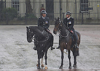 18 May 2016 - London England - Police on Horseback during the State Opening of Parliament in the House of Lords in London. The State Opening of Parliament marks the formal start of the parliamentary year and the Queen's Speech sets out the government's agenda for the coming session. Photo Credit: ALPR/AdMedia