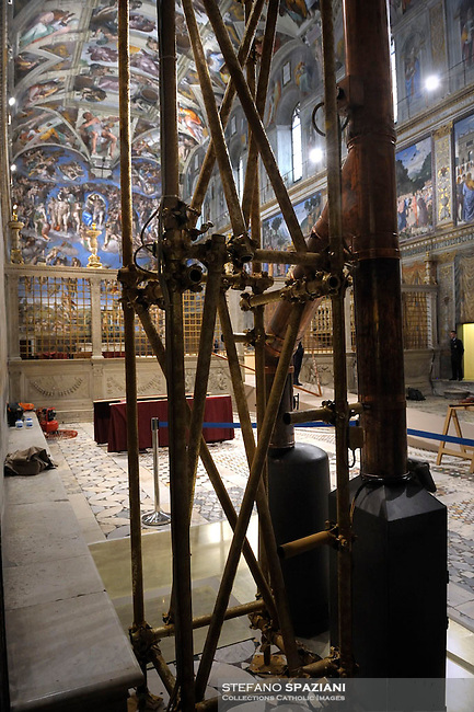 the stoves which were setup in the Sistine chapel prior a cardinals conclave on March 9, 2013 at the Vatican. The two stoves with one common flue have been installed for the burning of the votes once they have been counted. Ballots will be burnt in one of the stoves, engraved with the names of the last six popes and the dates they were elected. Chemicals burnt in the second stove will ensure the colour of the smoke in the sky cannot be misread